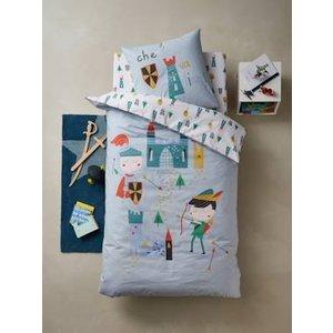 Vertbaudet Duvet Cover + Pillowcase Set, Lancelot & Co Theme Blue Light Solid With Design 704060715 Duvet Covers