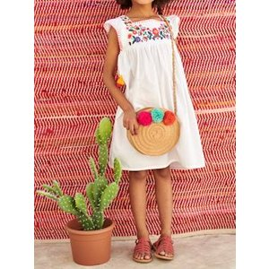 Vertbaudet Embroidered Dress With Ruffled Sleeves, For Girls White Light Solid With Design 702130754