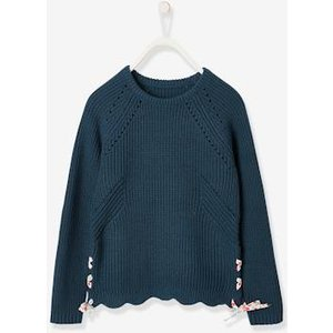 Vertbaudet Jumper With Flowery Ties, For Girls Blue Medium Solid With Design 702100322 Jumpers
