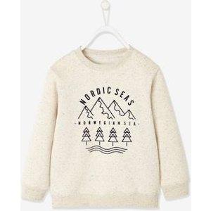 Vertbaudet Marl Sweatshirt With Nordic Motif For Boys White Medium Solid With Design 702350307 Sweatshirts & Hoodies