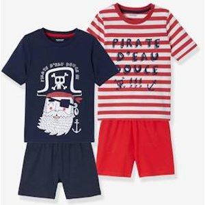 Vertbaudet Pack Of 2 Short Pyjamas For Boys, Pirate Red Dark 2 Color/multicolor 702530312