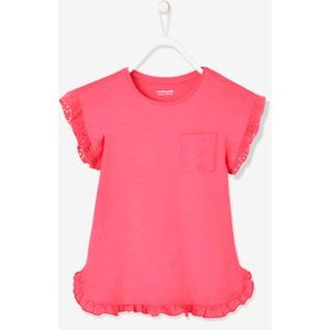 Vertbaudet Short Sleeve T-shirt With Broderie Anglaise Details, For Girls Blue Dark Solid 700231065 T Shirts