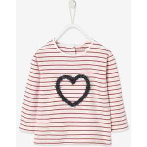 Vertbaudet Striped Top With Fancy Heart For Baby Girls Blue Dark Striped 700240696 T Shirts