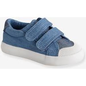 Vertbaudet Touch-fastening Trainers In Canvas For Baby Boys Blue Medium Two Color/multicol 701150329 Baby Girl Walking