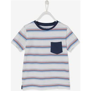Vertbaudet T-shirt With Thin, Colourful Stripes, For Boys White Light Striped 700261034 T Shirts