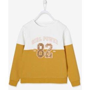 Vertbaudet Two-tone Sweatshirt With Sequin Motif For Girls Yellow Light Solid With Design 702100510 Sweatshirts & Hoodies