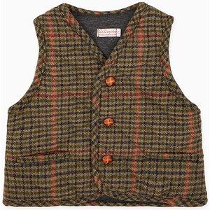 La Coqueta Brown Check Caza Boy Sleeveless Jacket Bocogi180002brc03y, Brown Check
