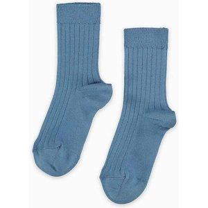 La Coqueta Dusty Blue Ribbed Short Socks Acsorsba00024496ys, Dusty Blue