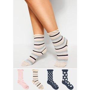 4 Pack Navy Assorted Spot & Stripe Socks Yours Clothing Uk