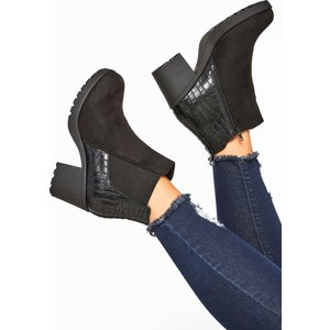 Black Faux Suede Croc Effect Heeled Chelsea Boots In Extra Wide Fit Yours Clothing Uk