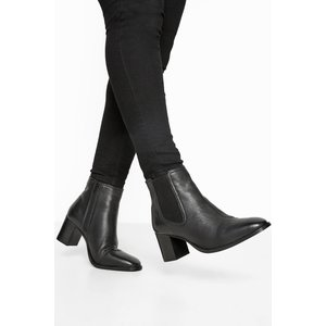 Black Leather Heeled Chelsea Boots In Extra Wide Fit Yours Clothing Uk