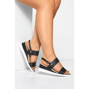 Black Sporty Wedge Sandals In Extra Wide Fit Yours Clothing Uk
