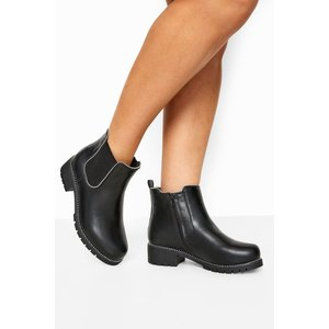 Black Studded Chelsea Boots In Extra Wide Fit Yours Clothing Uk