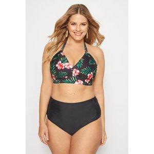 Black Tropical Bikini Top Yours Clothing Uk