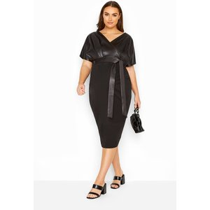 Bump It Up Maternity Black Contrast Wrap Dress Yours Clothing Uk
