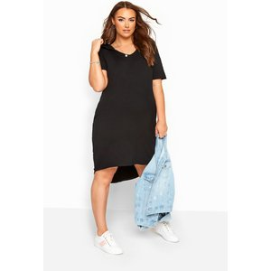 Bump It Up Maternity Black Hooded Jersey Dress Yours Clothing Uk