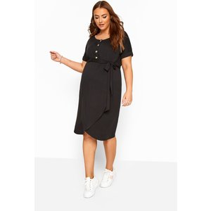 Bump It Up Maternity Black Horn Button Wrap Dress Yours Clothing Uk