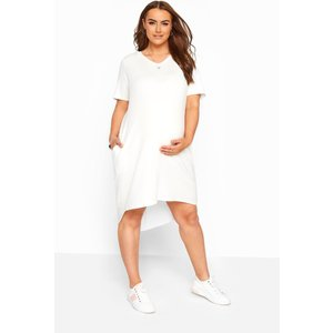 Bump It Up Maternity Cream Hooded Jersey Dress Yours Clothing Uk