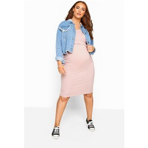 Bump It Up Maternity Pink Ribbed Twist Bodycon Midi Dress Yours Clothing Uk