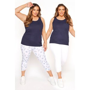 Plus Size 2 Pack White & Blue Cropped Floral Leggings 22 Yours Clothing Uk