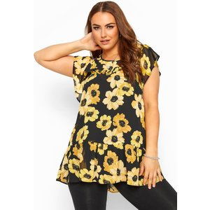 Plus Size Black & Yellow Floral Frill Chiffon Blouse 18 Yours Clothing Uk