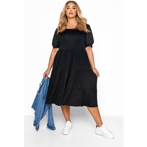 Plus Size Black Broderie Anglaise Sleeve Tiered Smock Midi Dress 30-32 Yours Clothing Uk