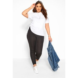 Plus Size Black Cotton Essential Leggings 30 > 34-36 Yours Clothing Uk
