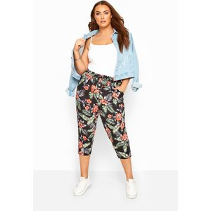 Plus Size Black Floral Hawaiian Print Cropped Trousers 18 Yours Clothing Uk