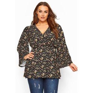 Plus Size Black Floral Print Wrap Top 30-32 Yours Clothing Uk