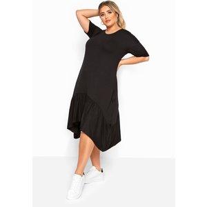 Plus Size Black Frill Hanky Hem Dress 26-28 Yours Clothing Uk