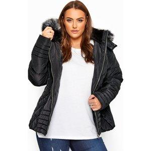 Plus Size Black Pu Trim Panelled Puffer Jacket 38-40 Yours Clothing Uk