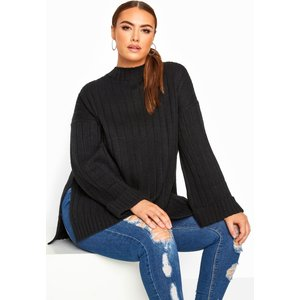 Plus Size Black Ribbed Wide Sleeve Knitted Jumper 26-28 Yours Clothing Uk