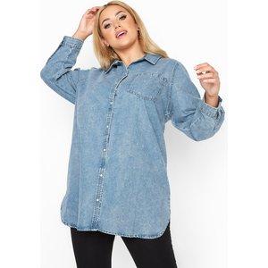 Plus Size Blue Acid Wash Denim Shirt 26-28 Yours Clothing Uk