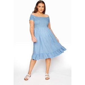 Plus Size Blue Acid Wash Shirred Bardot Dress 24 Yours Clothing Uk