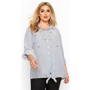 Plus Size Blue Floral Stripe Tie Front Shirt 20 Yours Clothing Uk