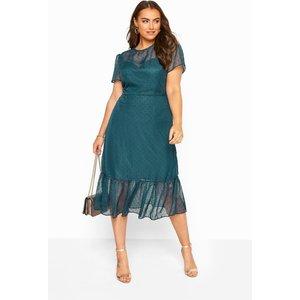 Plus Size Chi Chi Teal Blue Dobby Mesh Frill Hem Midi Dress 26 Yours Clothing Uk