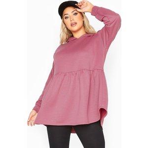 Plus Size Dusky Pink Peplum Hoodie 38-40 Yours Clothing Uk
