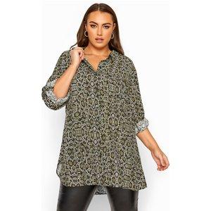 Plus Size Green Snake Print Boyfriend Shirt 22 Yours Clothing Uk