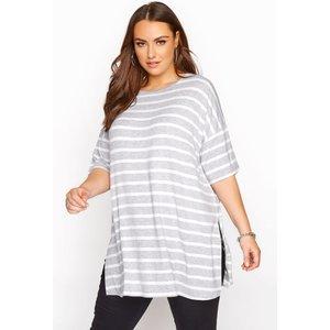 Plus Size Grey & White Stripe Oversized Tshirt 20 Yours Clothing Uk