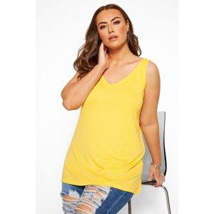Plus Size Lemon Yellow Cross Back Vest Top 34-36 Yours Clothing Uk