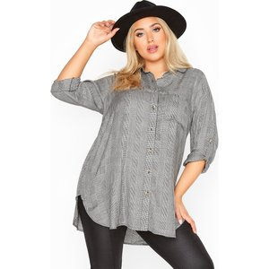 Plus Size Limited Collection Black Belted Dogtooth Check Shirt 18 Yours Clothing Uk