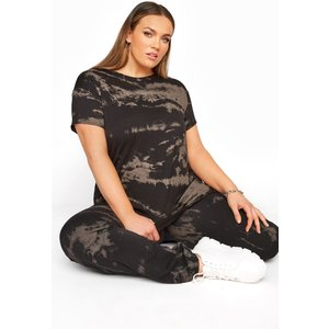 Plus Size Limited Collection Black Bleach Look Tshirt 16 Yours Clothing Uk