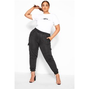 Plus Size Limited Collection Black Utility Joggers 24 Yours Clothing Uk