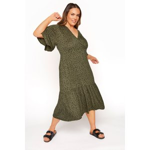 Plus Size Limited Collection Khaki Floral Frill Hem Wrap Dress 14 Yours Clothing Uk