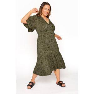 Plus Size Limited Collection Khaki Floral Frill Hem Wrap Dress 20 Yours Clothing Uk