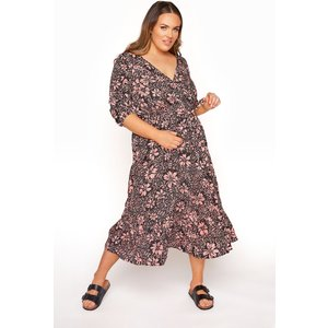 Plus Size Limited Collection Pink Floral Frill Hem Wrap Midi Dress 22 Yours Clothing Uk