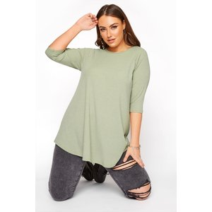 Plus Size Limited Collection Sage Green Ribbed Swing 3/4 Length Top 26-28 Yours Clothing Uk