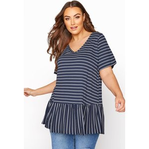 Plus Size Navy Stripe Peplum Top 38-40 Yours Clothing Uk