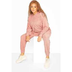 Plus Size Pink Flannel Towelling Coord Joggers 22-24 Yours Clothing Uk