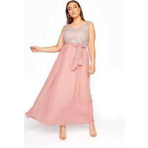 Plus Size Pink Sleeveless Crochet Overlay Maxi Dress 26 Yours Clothing Uk